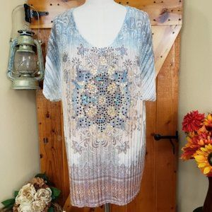Dressbarn Fall Colors Sequins Knitted Top Size L